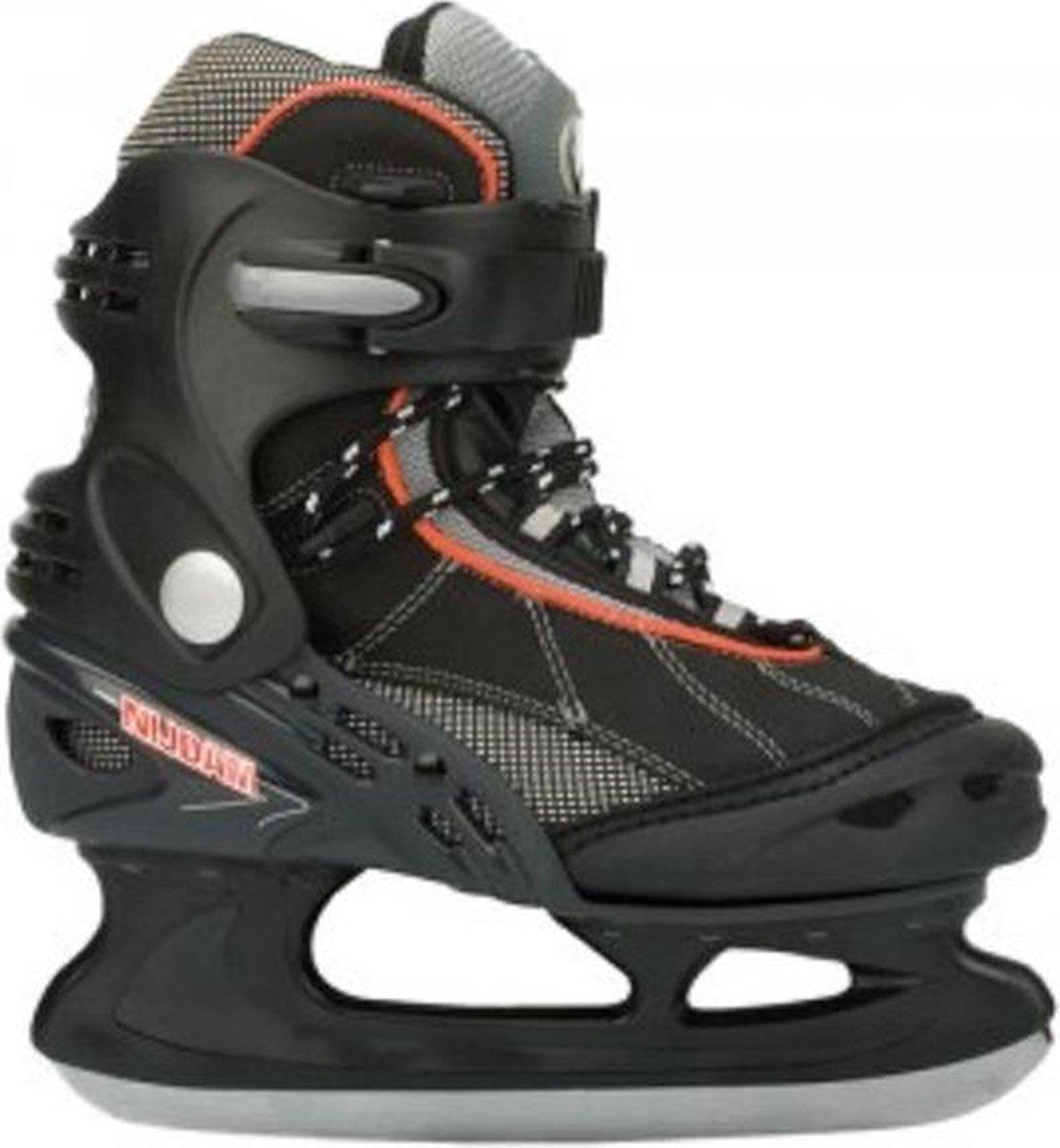 IJshockeyschaatsen / Schaatsen NIJDAM 0079, Zwart / Grijs / Rood, Waterproof, Maat 36, LET OP: Verpakking (doos) is beschadigd