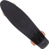 Skateboard Retro 57cm met LED wielen- zwart - oranje - tot 100 kg belastbaar