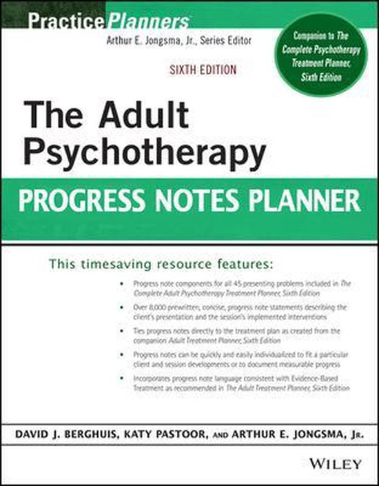 Boek cover The Adult Psychotherapy Progress Notes Planner van Arthur E. Jongsma, Jr. (Paperback)