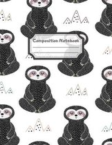 Composition Notebook: Wide Ruled Lined Paper: Large Size 8.5x11 Inches, 110 pages. Notebook Journal: Thinking Meditating Sloths Workbook for