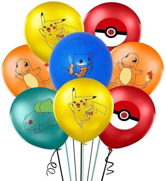 Pokemon ballonnen 25x Feestpakket Verjaardag Versiering Pikachu - Squirtle - Bulbasaur - Charmander - Pokebal ballon - Set 25 stuks