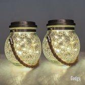 Gadgy Solar Lantaarn Craquelé Glas met 20 fairy lights  – Set van 2 - Solar tuinverlichting op zonneenergie – Led buitenverlichting met dag/nacht sensor – Tafellamp / Hanglamp / Tuinlantaarn  - 13.5 x Ø12 cm