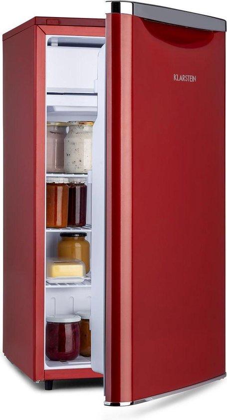 Koelkast: Klarstein Yummy koelkast met vriesvak  , 90 liter , 41dB , Energie-efficiëntieklasse A+ , retro design , Rood, van het merk Klarstein