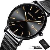 CRRJU® Horloges voor Mannen Vrouwen Herenhorloge Dameshorloge Heren Dames – Horloge Watch Jongens Meisjes – Horlogebox Geschenkdoos – Zwart Goud