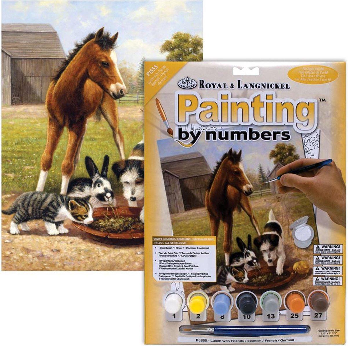 Schilderen op nummer - Paint by numbers - Dieren - Paard hond konijn en poesje op de boerderij 22x30cm - Schilderen op nummer volwassenen - Paint by numbers volwassenen
