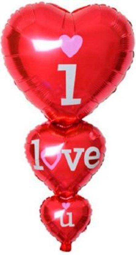 Grote I Love You ballon - XXL - 98x50cm - Moederdag cadeautje - Love - Folie ballon - Valentijn - Liefde - Huwelijk - Verrassing - Cadeau - Ballonnen - Hart - Helium ballon - Leeg - Valentijnsdag cadeau - Valentijn