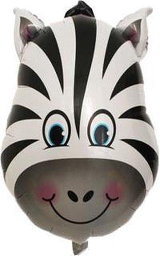 Zeebra ballon - 92x62cm - XL - Ballonnen - Versiering - Thema feest - Verjaardag - jungle - Dieren - Jungle versiering - Folie Ballon - Helium ballon