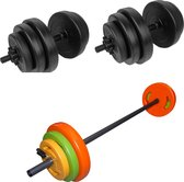 Tunturi - Fitness Set - Tunturi Vinyl Dumbbellset 28kg - Halterset 20 kg incl stang