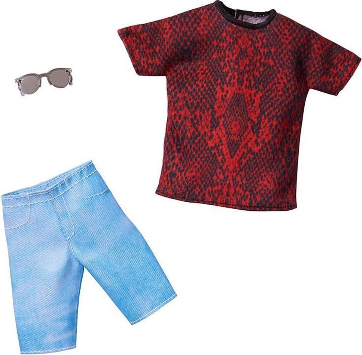 Barbie Ken poppenkleding met rood en zwart T-shirt, korte broek en 1 accessoire