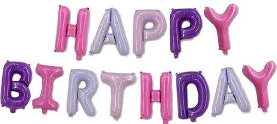 Happy Birthday Ballonnen - Roze&Paars - 40cm p.s. - Folie Ballon - Verjaardag - Feest - Gefeliciteerd - Versiering - Ballonnen - Helium ballon - Slinger - Set