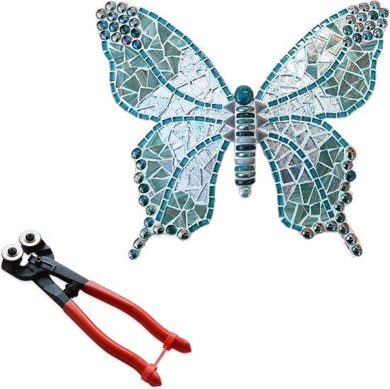 Mozaiek pakket Vlinder Turquoise + mozaiektang