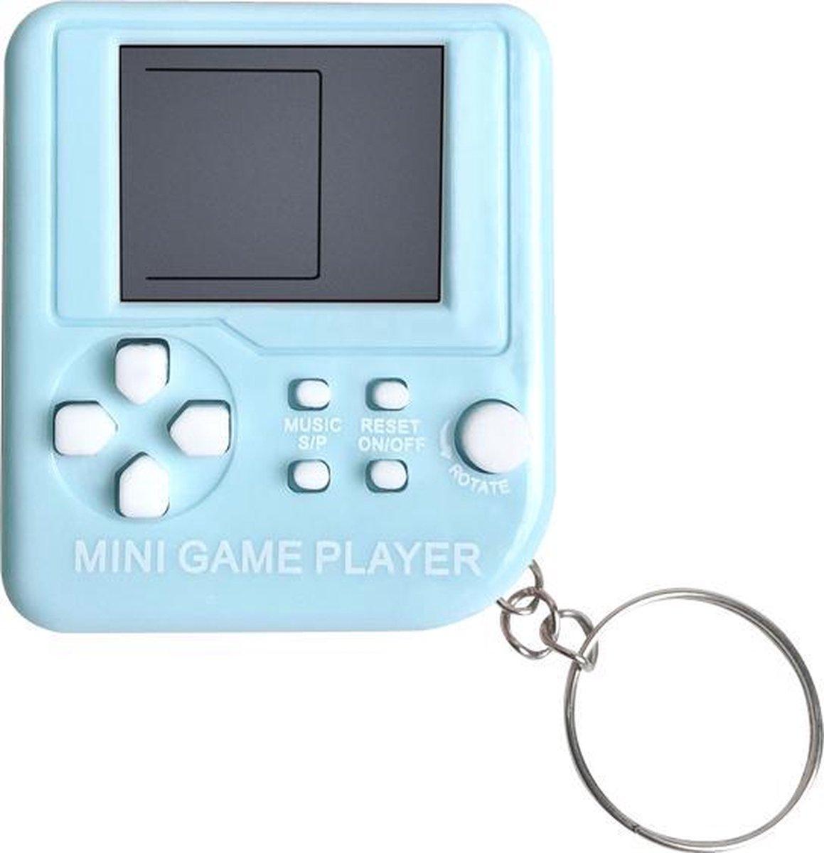 Mini Klassieke Tetris Spel Retro Spelcomputer Sleutelhanger LCD Spelletje - Blauw