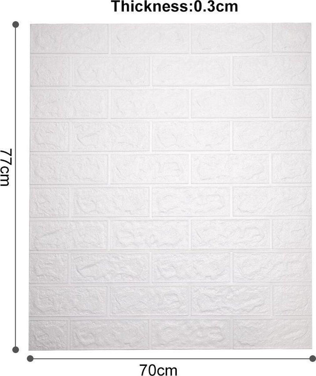 3D muurstickers - Zelfklevende stenen muur behang - decoratief muurbehang - wit stenen stickerbehang