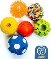 Vustin 6-Delige Honden Speelgoed Set – Honden Ballen Set – Honden Speelgoed Intelligentie – Helpt Bij Ontwikkeling Hond - Honden Speeltjes voor Kleine en Middelgrote Honden - Puppy Speelgoed Inclusief Voedingsbal