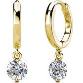 Yolora dames oorbellen met Zirkonia kristal - 18K witgoud vergulde oorbellen - YO-E082-YG-CC