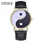 Hidzo Horloge Yin Yang Ø 39 - Zwart/Wit - Kunstleer
