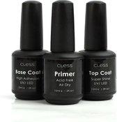 Cless Gellak set – 3-delig - 15ML - Vegan & Cruelty Free - Primer - Base Coat - Top Coat - Gellak set UV & LED – Startersset – Gelpolish - Nail art - French Manicure