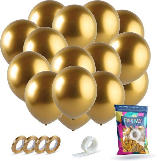 Fissaly® 40 stuks Gouden Helium Latex Ballonnen met Lint - Decoratie – Goud – Sarah & Abraham 50 jaar