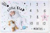 Mijlpaaldeken – Milestone Blanket – Baby Foto Deken – Little Star – 101 x 152 CM – Met Roze Ster Frame