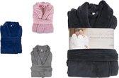 Luxe badjas - maat S/M - microfiber - MICRO FLEECE - badjas - bad jas - ochtendjas – lichtgrijs