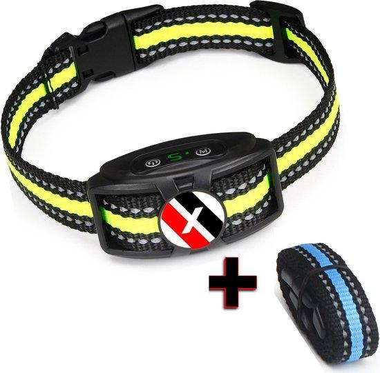 MAXTRONICS™ Premium Diervriendelijke Anti blafband zonder schok - Anti blafband voor kleine Honden en Grote Honden - Opvoedingshalsbanden - Waterproof en Verstelbaar - Oplaadbaar - Vibratie en geluid - blafband voor honden - Geel/Blauw