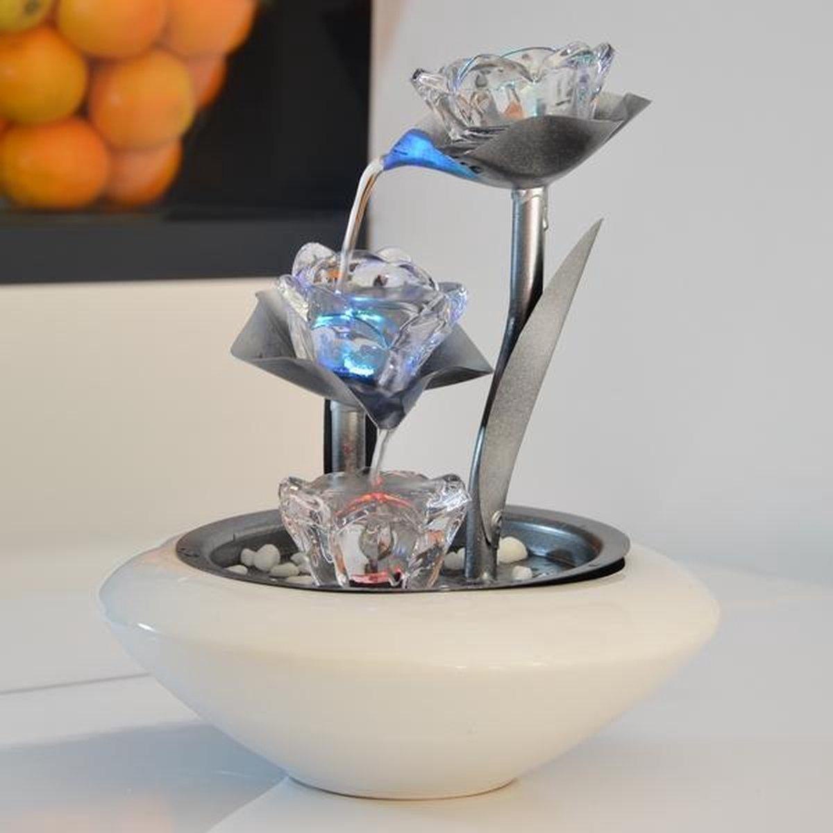 Cristal Line Floréa 28 cm - fontein - interieur - fontein voor binnen - relaxeer - zen - waterornament - cadeau - geschenk - verjaardag - kerst - nieuwjaar - origineel - lente - zomer - lentecollectie - zomercollectie - afkoeling - koelte