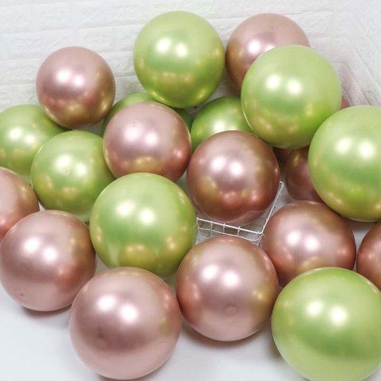 50 st. rosa-lime assortiment grote metallic Chrome ballonnen - Nedville  Collectie - lime- en Zalmroze reflex - verjaardag ballonnen -  groot 38 cm lang - top kwaliteit bio afbreekbaar latex - voor helium, lucht, etc. - met snel sluiters t.w.v. 10,95