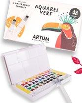 48 Kleuren Aquarelverf Beginner Set  - Inclusief 2 Water Brush Pennen  - Waterverf Pakket Volwassenen & Kinderen  - Waterbrush