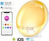 Wake Up light - Wake-up lights - Wekkerradio – Wekker- slaaptrainer- Google Home Kinder Nachtlamp - Smartphone app - Zonsondergang simulatie – 7 verschillende kleuren Natuurlijke wekgeluiden