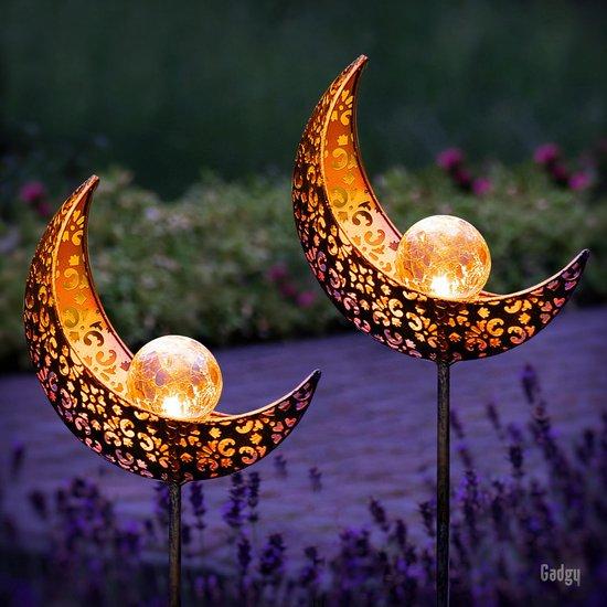 Gadgy Solar Maan Lamp met grondspies – Solar Tuinverlichting - set van 2 st.– 88 cm hoog – Brons kleurig metaal – Tuinverlichting op zonneenergie buiten – Led buitenverlichting met sensor - Tuinfakkel - Tuinsteker