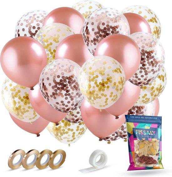 Fissaly® 60 stuks Rose Goud Helium Ballonnen Set met Lint – Decoratie – Papieren Confetti – Latex