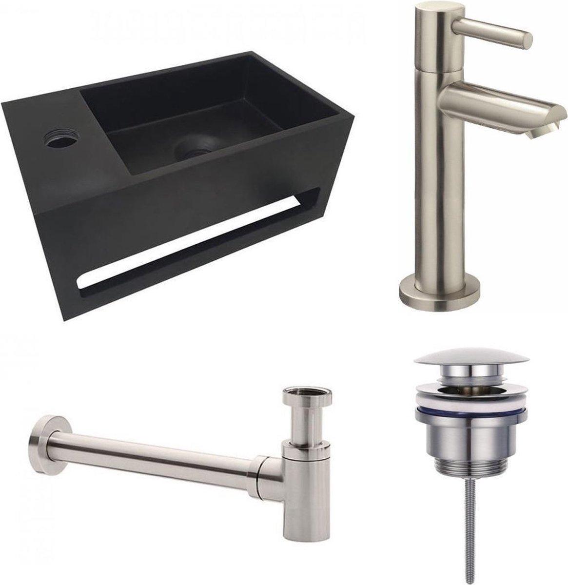 Fonteinset S.S. Solid Surface Mat Zwart Links 35.6x20.3x15.9cm Toiletkraan Hendel Clickwaste Sifon Geborsteld RVS