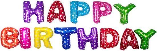 Happy Birthday Ballonnen -Kleur - hartjes - 40cm p.s. - Folie Ballon - Thema Verjaardag - Feest - Ballonnen set - Slinger - Versiering - Helium ballon