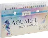 Aquarel Penseelstiften | 20 kleuren | 1 waterbrush | Nassau Fine Art - Aquarel verf voor volwassenen - Bullet journal - Handlettering set - Fineliners