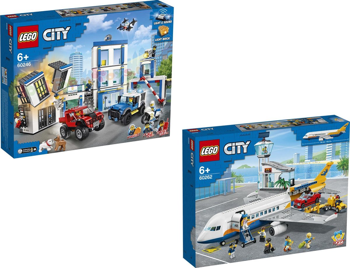LEGO City Bundel - LEGO City 60246 Politiebureau + LEGO City 60262 Passagiers vliegtuig