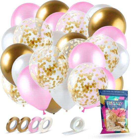 Fissaly® 40 Stuks Goud, Creme wit, Roze & Papieren Confetti Goud Latex Ballonnen met Accessoires – Helium - Decoratie – Bruiloft & Trouwen