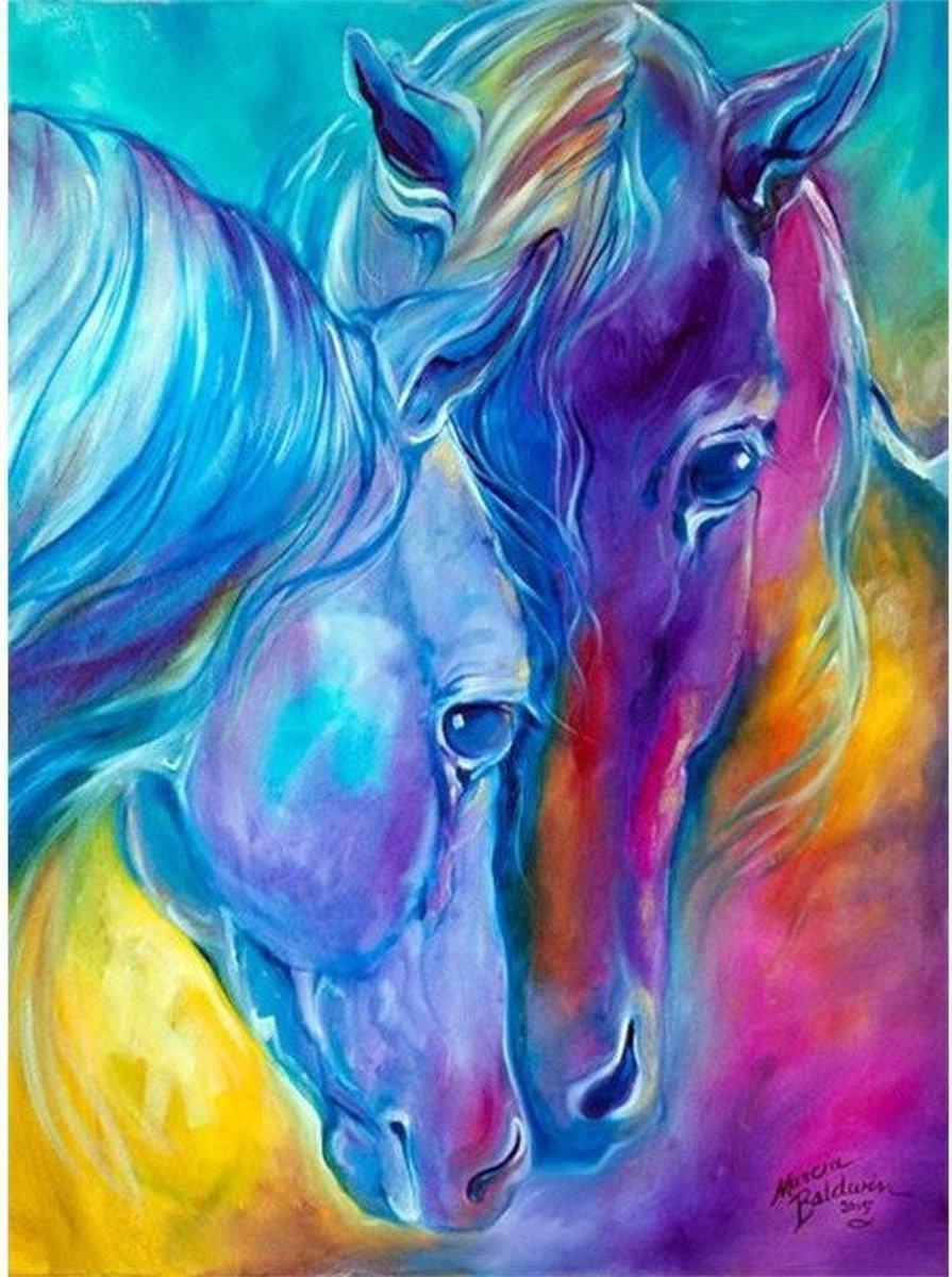 Premium Paintings - Twee Gekleurde Paarden - Diamond Painting Volwassenen - Pakket Volledig / Pakket Full - 30x40 cm - Moederdag cadeautje