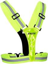 Athletix® - Hardloopvest met Verlichting - LED - One-Size - Verstelbaar - Unisex - Sportvest - Groen