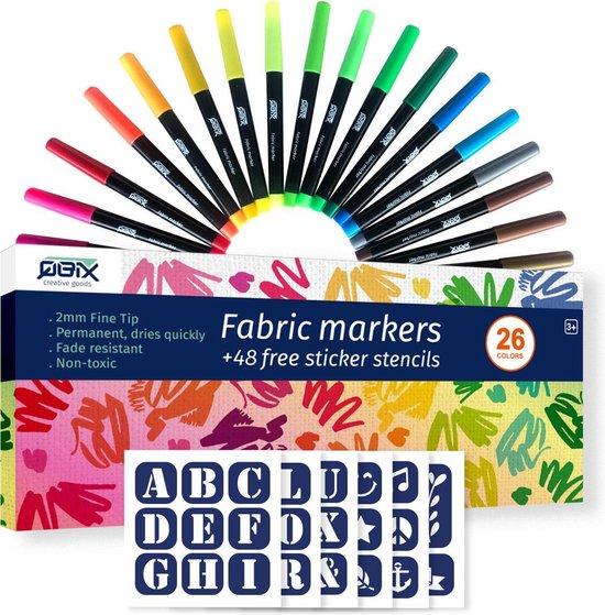 Afbeelding van QBIX Textielstiften set - 26 kleuren inclusief 48 klevende stencils - Permanent