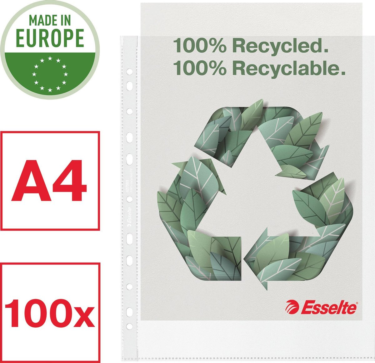 Esselte Recycle PP Showtas A4 Maxi - 100 Insteekhoezen - Transparant