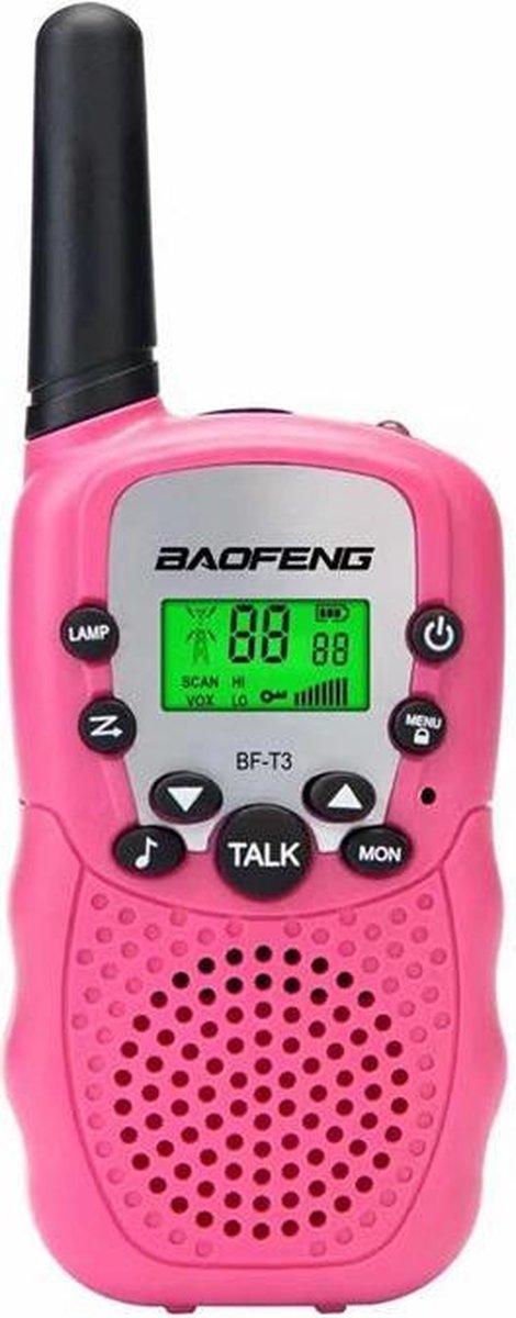BOAFENG - Walkie Talkie Set (Verbeterde Versie) - Kinderen en Volwassenen - 3 KM Bereik - Zaklamp - Portofoon - 2 stuks - Walkie Talkies - Roze