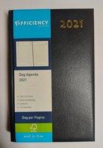 Bureau Agenda 2021 - BLAUW 1 dag per pagina (13cm x 21cm)