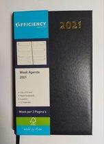 Ryam Bureau Agenda 2021- BLAUW 1 week op 2 pagina's (21cm x 13cm)