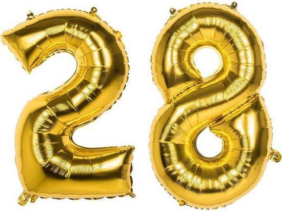 28 Jaar Folie Ballonnen Goud - Happy Birthday - Foil Balloon - Versiering - Verjaardag - Man / Vrouw - Feest - Inclusief Opblaas Stokje & Clip - XXL - 115 cm