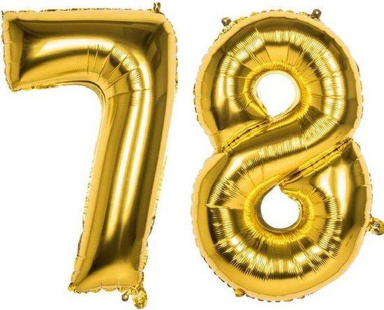 78 Jaar Folie Ballonnen Goud - Happy Birthday - Foil Balloon - Versiering - Verjaardag - Man / Vrouw - Feest - Inclusief Opblaas Stokje & Clip - XXL - 115 cm