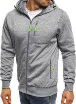 Grijze Hoodie heren met capuchon - Met rits – Light Sport Sweater - Maat XL