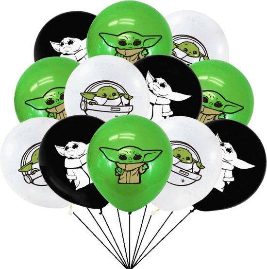 Baby Yoda Ballonnen - 12 Stuks - Mandalorian - Star Wars - Grogu - Verjaardag Versiering - Groen Wit Zwart