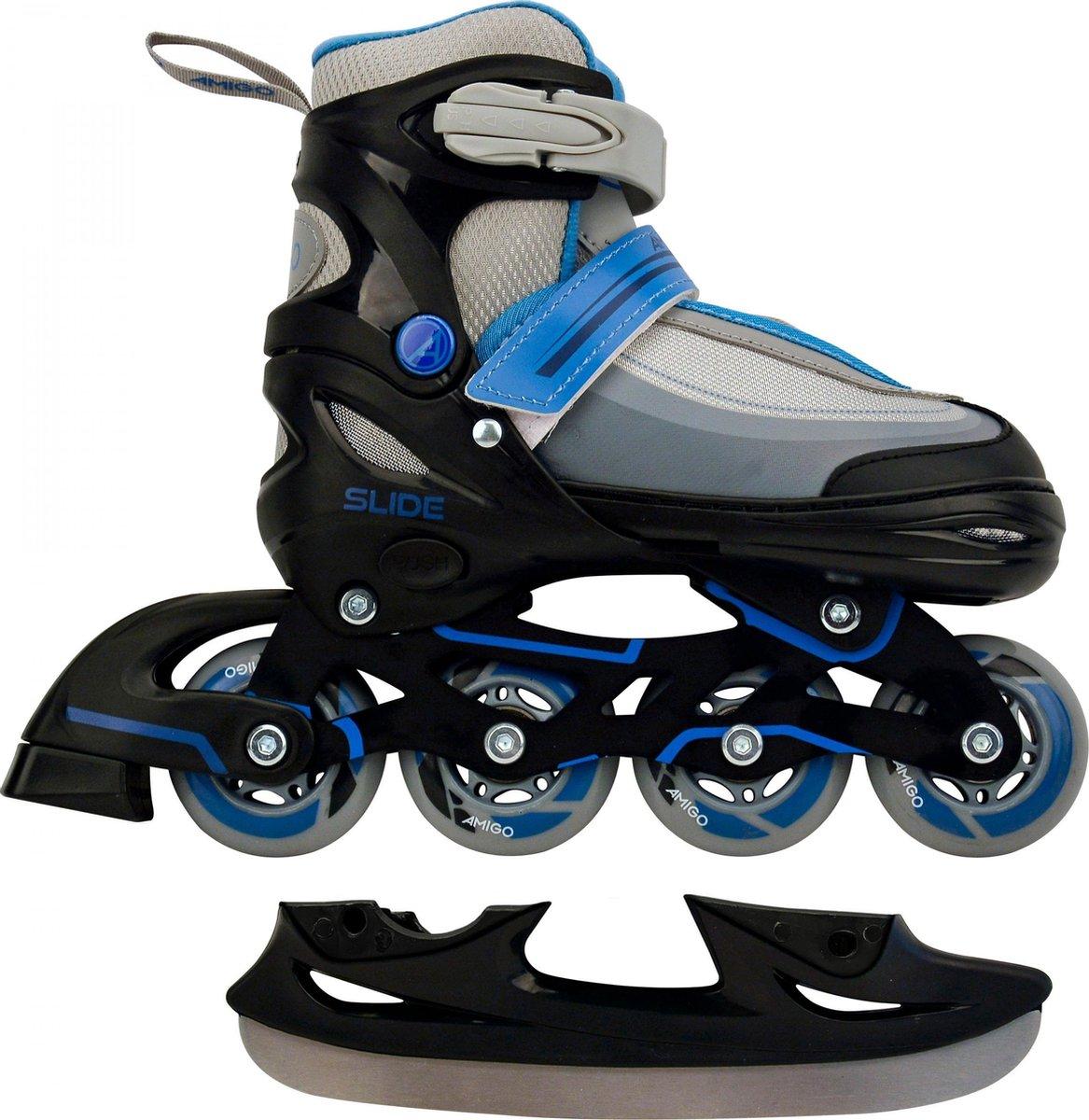 AMIGO Slide 2-in-1 skates - Voor jongens en meisjes - Zwart/Blauw- Maat 30-33