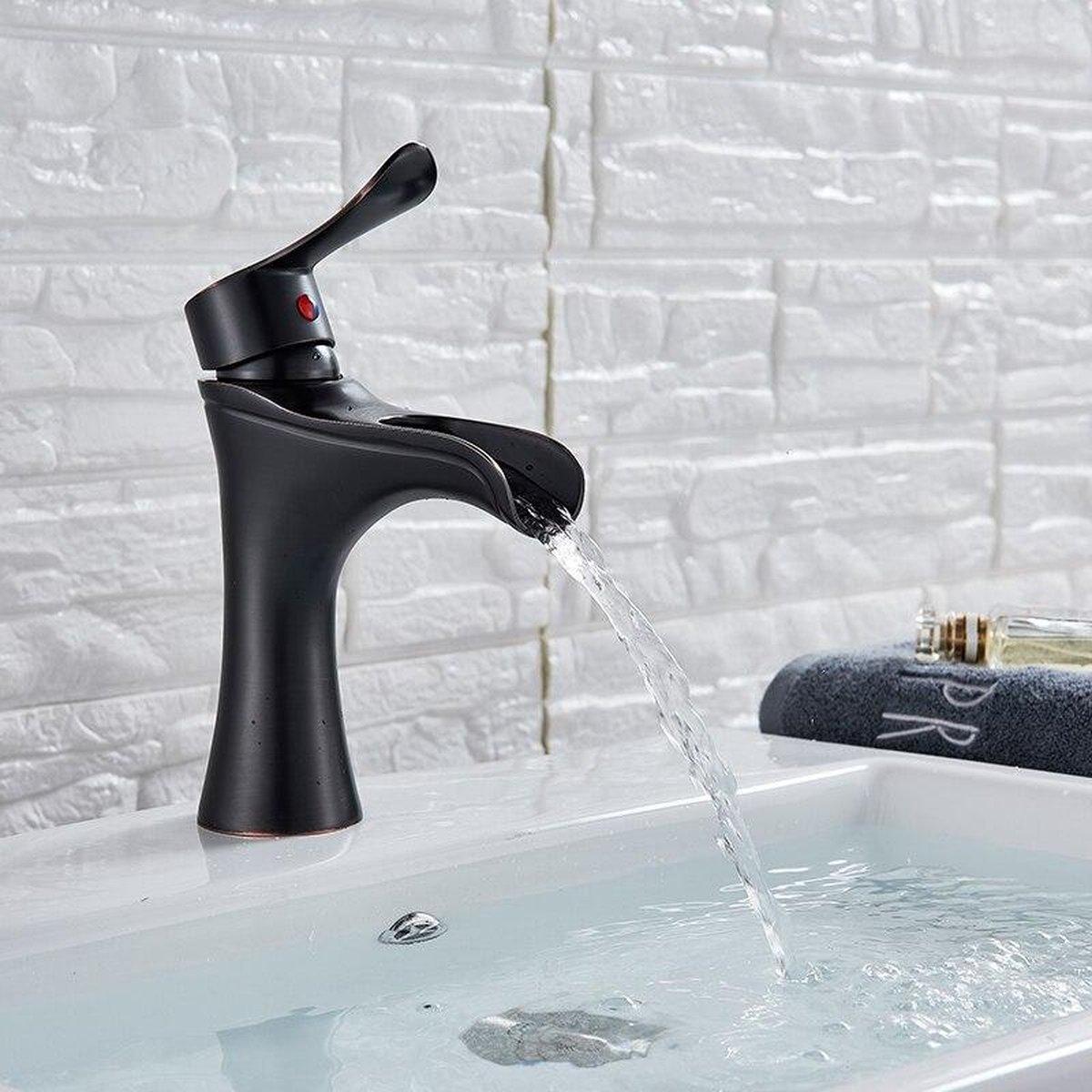 Productgigant - Wastafelkraan - fonteinkraan - toiletkraan - zwart met brons
