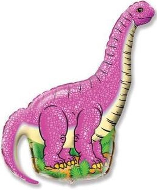Dino Ballon - Roze - XXL - 96x68cm - Ballonnen - Dino feest - Thema feest - Verjaardag - Helium ballon - dinosaurus ballon - Folie ballon